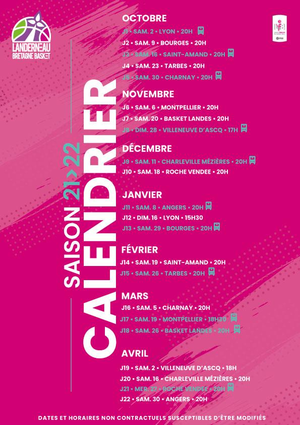calendrier LFB saison 21-22